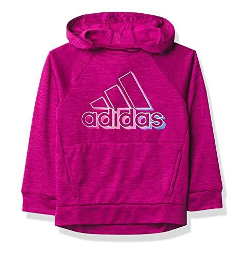 adidas Girls' Fleece Pullover Hooded Raglan Sweatshirt, Event Power Berry Heather, 6X