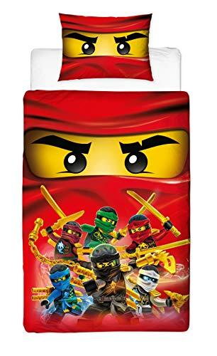 LEGO Ninjago - Funda de edredón para Cama Individual (Reversible, con Funda de Almohada a Juego, 200 x 135 cm), diseño de Ninjago