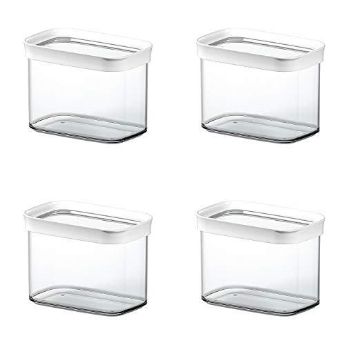 Emsa 513557 'Optima' Trockenvorratsdose, 1l, transparent/weiß (4er Pack)