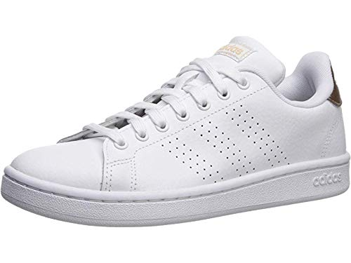 adidas womens Cloudfoam Advantage Cl Sneaker, White/White/Copper Metallic, 7.5 US