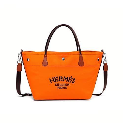 レディースバッグ トートバッグ ハンドバッグ ショルダーバッグ 2Way キャンバス ビーチバッグ ポーチ付き バッグ ラージショッピング バッグ マザーズバッグ 肩掛け ポーチ付き ラージショッピング バッグ 大容量 通勤 多色入り 防水 軽量 (オレンジ)