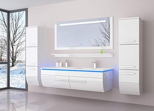 Badmöbel Doppelwaschbecken Set Weiß kaufen  Bild 1*