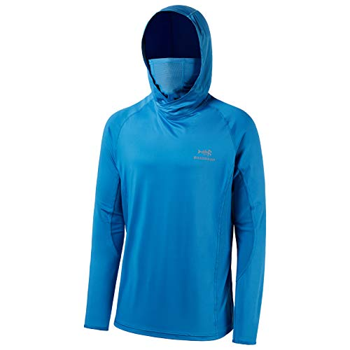 Bassdash UPF 50+ Men's Long Sleeve Fishing Shirt with Mask UV Neck Gaiter Hoodie (Malibu Blue, XX-Large)