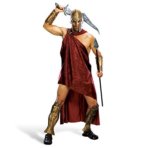 300 - Spartaner Deluxe Komplett Film Kostüm Herren 5-tlg Toga Klammer Armstulpen Beinstulpen Helm - XL
