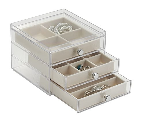 mDesign Elegant Plastic Jewellery Box with Drawers - Pretty Acrylic Jewellery Organiser with Drawers - Ideal Jewellery Storage with Drawers and Compartments - Clear/Ivory