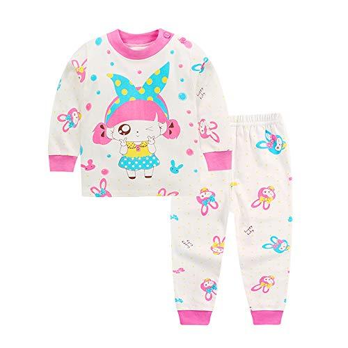 Fansu Pijamas Enteros de Manga Larga para Niños, Pijamas Dos Piezas Bebé Niño y Niña Suave y Cómoda Ropa 100% Algodón de Ajuste Juego de Pijama Camisetas y Pantalones (Muchacha Rosada,120CM)