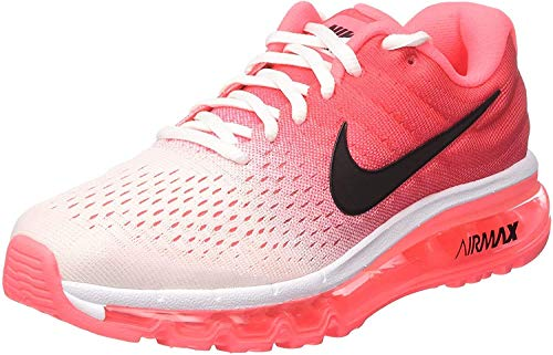 Price comparison product image Women's Nike Air Max 2017 Running Shoe,  White / Black / Hot Punch,  7.5