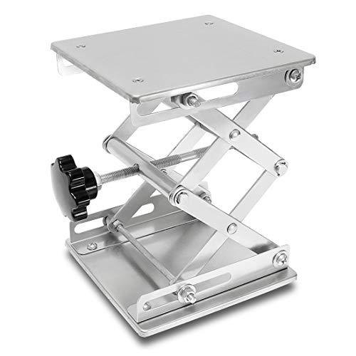 Wisamic 15,2 x 15,2 cm Aluminium Labor Jack Ständer – 150 x 150 mm Edelstahl Scherenheber Labortisch Jiffy Jack Laborständer Tisch, Höhe 82-310 mm Tragkraft 15 kg