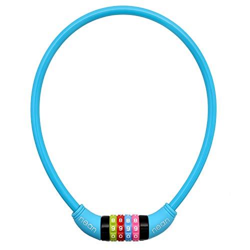 nean Fahrradschloss für Kinder, Zahlen-Code-Kombination-Kabel-Schloss, bunt, 10 x 650 mm (Blau) - 2