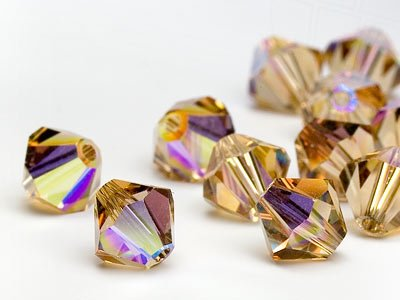 Glasperlen zum Auffädeln von Swarovski Elements Doppelkegel  4mm  (Light Colorado Topaz-AB), 96 Stück