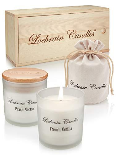 LOCHRAIN Set Velas Perfumadas de Soja – Aromaterapia Ecológica – Lavanda, Vainilla Francesa y Néctar de Durazno - Velas Aromaticas con Aceites Esenciales y Productos Botánicos - Caja de Madera