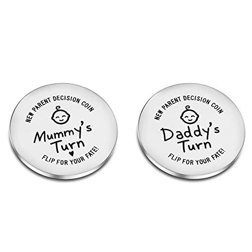CJ&M Lustige Entscheidungsmünze für neue Eltern, gravierte Holzmünze für Entscheidungsfindung, Geschenk zur Geburt, Babyparty