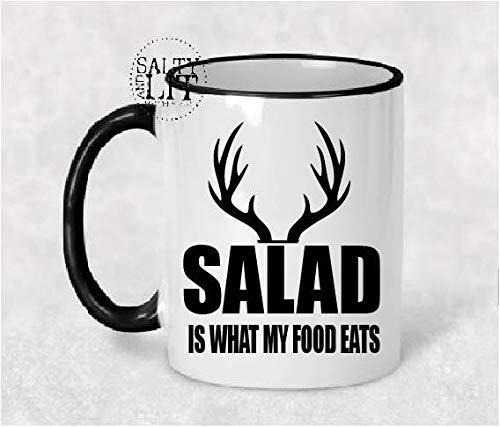 Salade is wat mijn eten eet 11 oz koffie mok vlees eten cadeau voor hem herten jager cadeau herten jager mok zout en licht mok