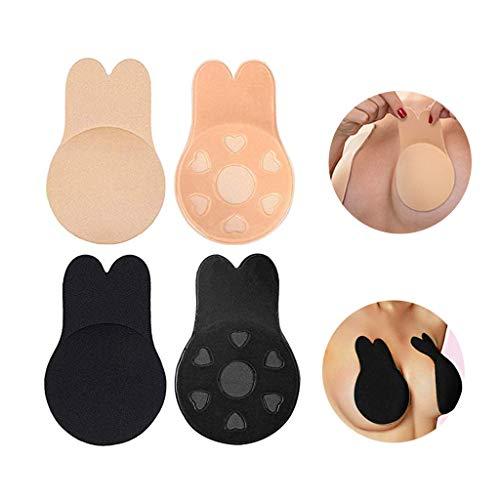 Coriver Silikon Pasties Bruststraffung, trägerlos Push Up BH rückenfrei unsichtbar klebende BHs wiederverwendbare Lifting-BH-Körbchen atmungsaktive Brustwarzenabdeckung (2 Paar) (Large)
