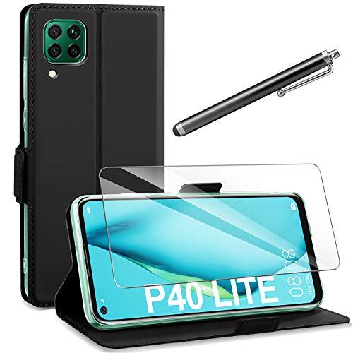 AROYI Huawei P40 Lite Hülle + Schutzfolie + Touchscreen-Stift, Huawei P40 Lite PU Leder Tasche Hülle Flip Schutzhülle mit Ständer & Kartenfach für Huawei P40 Lite Schwarz