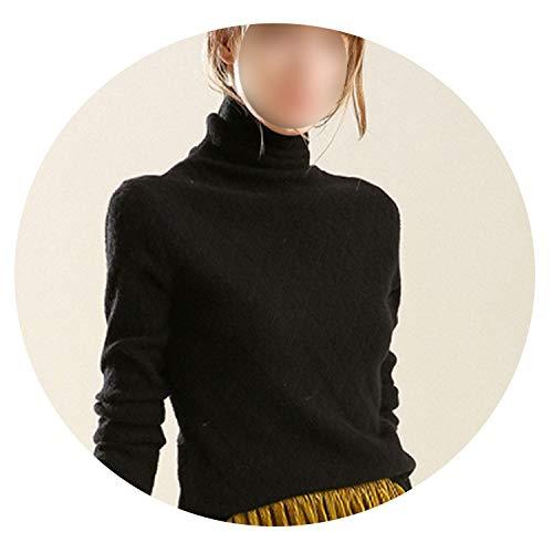 sensitives Sweater Women Warm Winter Autumn Turtleneck Soft Comfortable Women Sweaters and Pullovers,Black,S