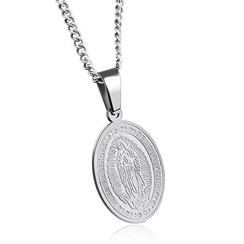 PLY Choker Largo Collar Hecho a Mano Guadalupe Virgen María Católico Cristiano Religioso Religioso Medalla Colgante Cadena (Color : Silver)