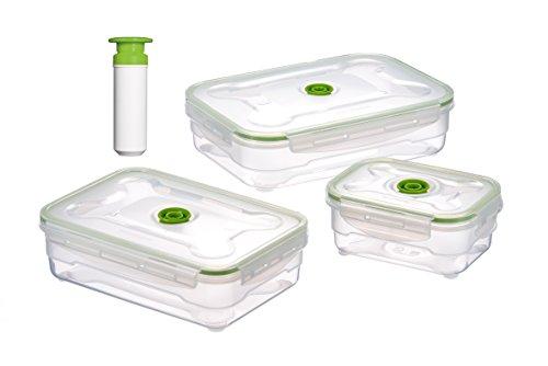 Vacuumsaver Set de Tuppers al Vacío, Transparente y Verde, 31x59x47 cm, 3 Unidades