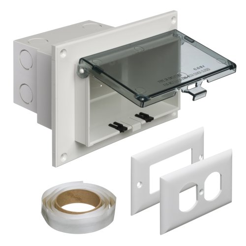 Arlington DBHR1C-1 Low Profile IN BOX Electrical Box with Weatherproof Cover for Flat Surface Retrofit Construction, 1-Gang, Horizontal, Clear