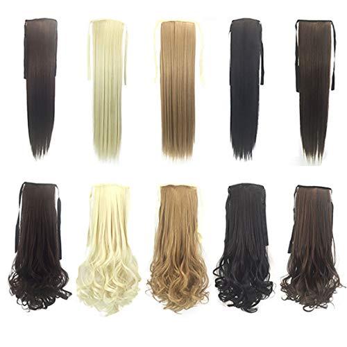 Postiches naturelles Fashian Mesdames Perruque Extensions Cravate Corde Queue De Cheval Couleur Cheveux Queue Droite Queue, 10 Pièces, Couleur Long Wave Ponytail pour les femmes