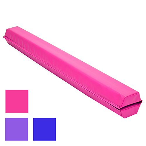 Best Choice Products 9ft Folding Medium-Density Foam Floor Balance Beam for Gymnastic and Tumbling, Pink