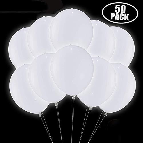 TECHSHARE LED Leuchtende Weiß Luftballons 50 stück für Hochzeitsfest Weihnachten Geburtstag, Weiß