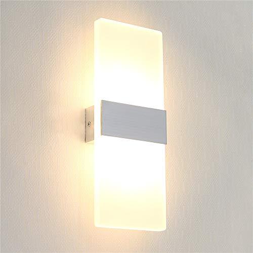 Lámpara de pared Interior 12W Moderna Apliques de Pared, Blanco Cálido 3000K, Aplique Pared Interior Iluminación Luz de Ambiente Perfecto para Baño, Salón, Dormitorio, Escalera, Pasillo