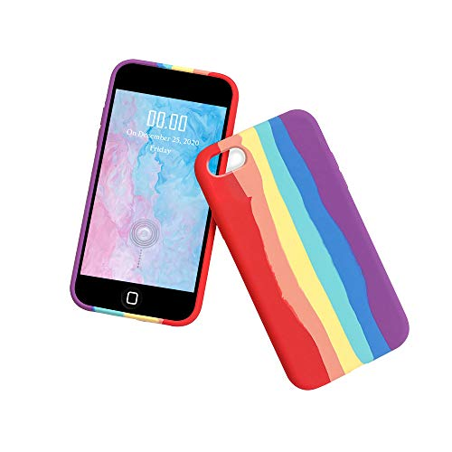WeiCase Custodia in Silicone Liquido Compatibile con iPhone 7 Plus/8 Plus, Slim Cover Antiurto con Morbida Microfibra Fodera, Anti-Graffio Cover Case per iPhone 7 Plus/8 Plus,Rainbow Case