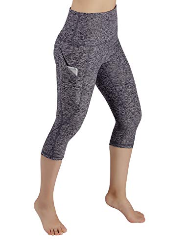 ODODOS Women's High Waist Yoga Capris with Pockets,Tummy Control,Workout Capris Running 4 Way Stretch Yoga Leggings with Pockets,NavyHeather,Medium
