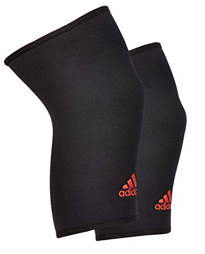 Adidas 2 Pack Compression Knee Sleeve with Breathable Reinforced Nylon, Black, Size Medium'