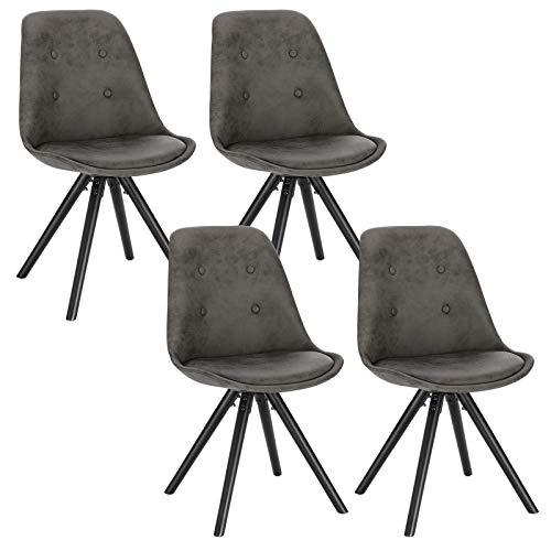WOLTU® BH268an-4 4 x Esszimmerstühle 4er Set Esszimmerstuhl, Sitzfläche aus Stoffbezug, Design Stuhl, Küchenstuhl, Holzgestell, Antiklederoptik Anthrazit