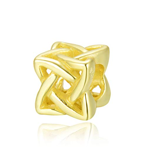 925 Sterling Silver Charm Gold Celtic Knot Charm Bead for All Charm Bracelet Necklace Women Birthday Gift Compatible with Pandora EC536