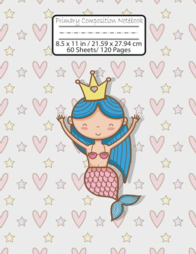 primary composition notebook with picture space: Primary Composition Notebook for K-2, cute mermaid Journal with Dotted Midline for Kids Practicing to Write and Draw