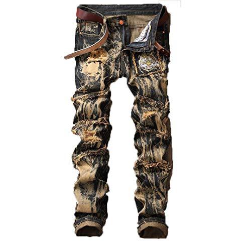 Lavar Destruir Acanalado Jeans Hombres Tigre Bordado Dril de algodón