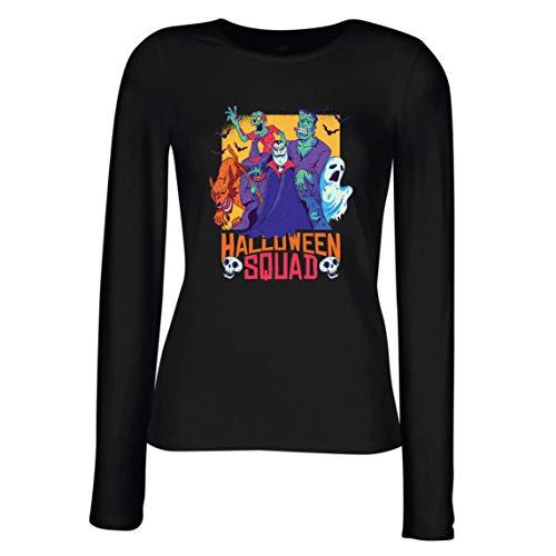 lepni.me Camisetas de Manga Larga para Mujer Escuadrón de Halloween - Vampiro, Fantasma, Hombre Lobo, Bruja, Zombie (Small Negro Multicolor)