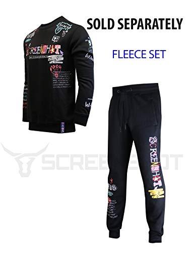 SCREENSHOT Mens Hip Hop Premium Slim Fit Urban Fleece Pants – Street Fashion Sweatpants Ribbed Wasteband with Drawstring