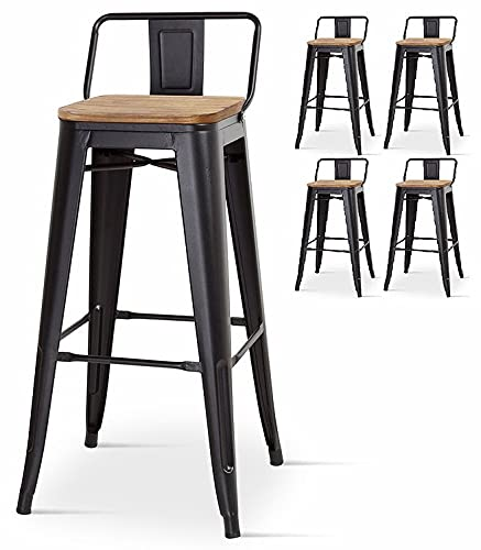 Kosmi - Lot de 4 chaises de Bar, tabourets Moyens Style Industriel avec Petit Dossier en métal Noir Mat et Assise en Bois Naturel Clair, Assise Hauteur 66cm