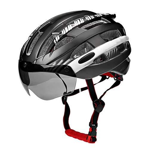 Ajustable Casco Bici Ligero Con Visera Solar Casco Ultraligero Para Bicicleta MTB Casco De Bicicleta Moldeado Integralmente Hombres Mujeres Cascos Bicicleta Carretera M/L (54-62 CM)