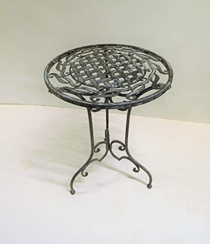 Ziegler Metalltisch Beistelltisch Blumenhocker Gartentisch Garten Terrasse Bistrotisch Deko Tisch Metall Shabby Shabbylook rund WK071291 grau