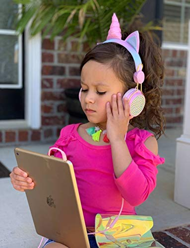 Charlxee Unicorn Kids Headphones Children Girls Teens Foldable Adjustable Headband On Ear Headphones    Stereo Tangle-Free cord 3.5mm Jack Compatible iPad Cellphones Computer MP3/4 Kindle Airplane-(Pink)