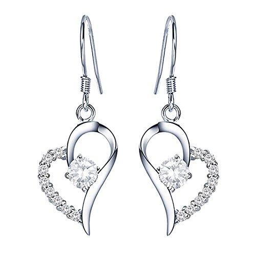 QUKE 925 Sterling Silver Love Heart Shape Cubic Zirconia Crystal Chandelier Dangle Drop Earring For Women Girls