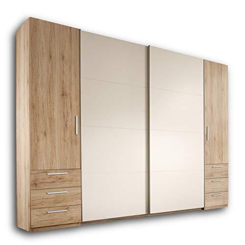 STORE Eleganter Kleiderschrank mit viel Stauraum - Vielseitiger Schwebetürenschrank in Eiche San Remo Optik, Weiß - 270 x 226 x 58 cm (B/H/T)