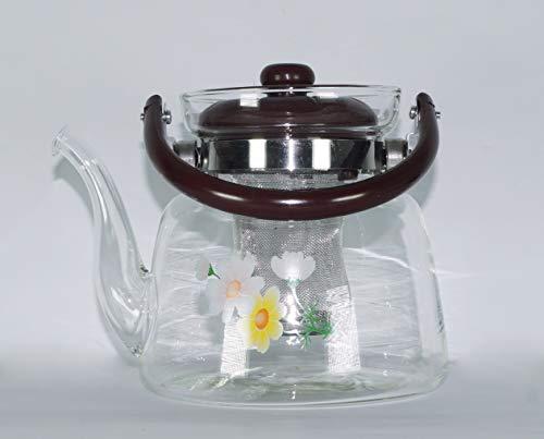 takestop® thermoskan van borosilicaatglas, TISANA 1 liter handvat van BACHELITE met roestvrijstalen filter INFUSIVE The' Tea Te Caffe' sterke displaybescherming van Teapot Pot
