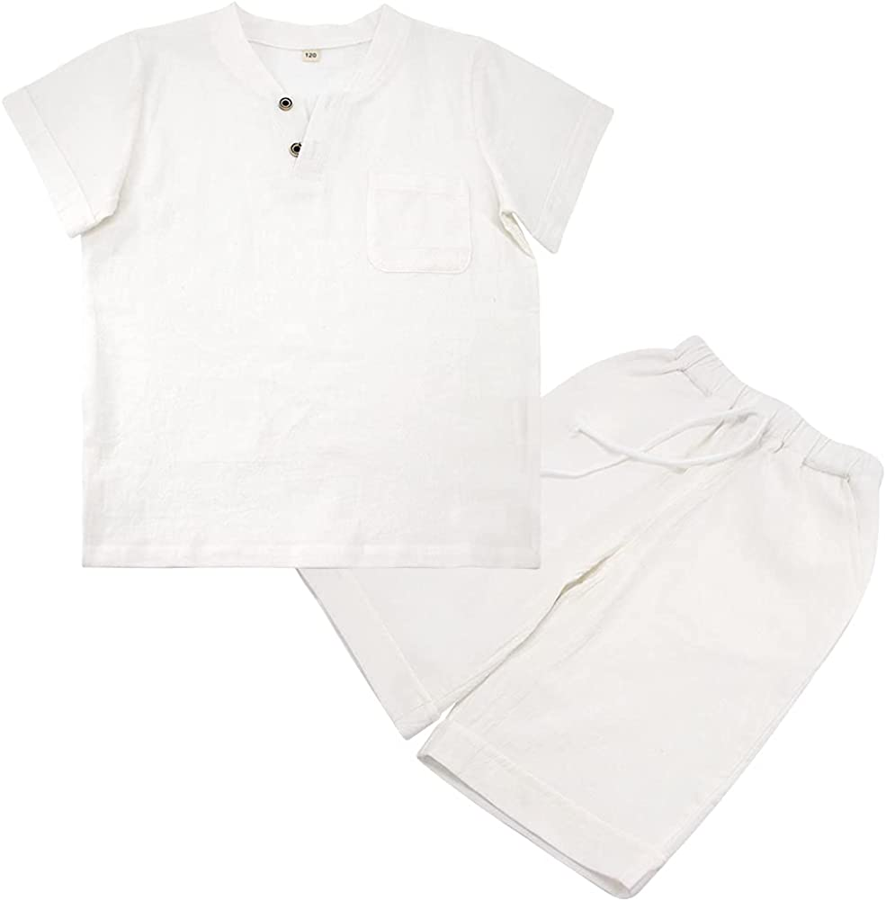 POBIDOBY Boy's T-Shirt and Shorts Set Cotton Linen Summer Short Sleeve Children Two Pieces Clothing Pants Sets