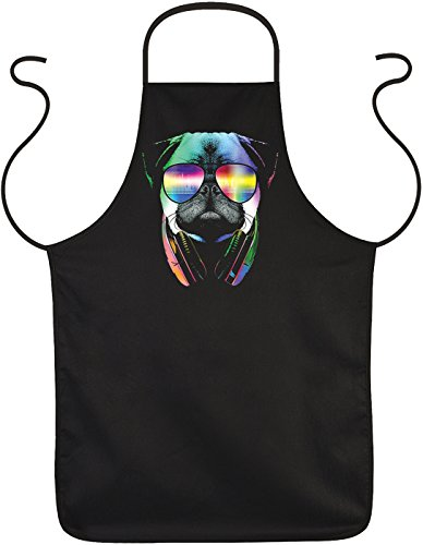 Schürze mit buntem Hunde-Motiv: DJ Pug, Mops, Sonnenbrille, Kopfhör- Geschenk für Tierliebhaber - One size - Grillschürze, Kochschürze - schwarz