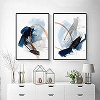 モダンアートプリント青い色の線キャンバス絵画ポスターとプリント写真リビングルームの家の装飾のための要約(50x70cm)X2フレームレス