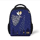 Kids School Backpack Night,Girls Kids Cartoon Cute Fairy in Sky Casting Magic Over Houses Hearts Stars,Blue Marigold White Plain Bookbag Travel Daypack