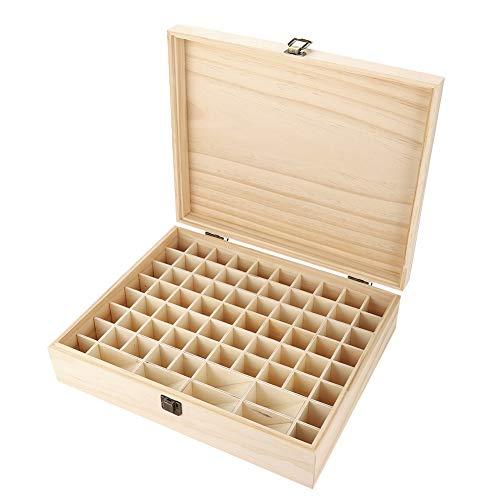 Aufbewahrungsbox für ätherische Öle, Natrual Einschichtiger großer Behälter aus Holz 74 Flaschen