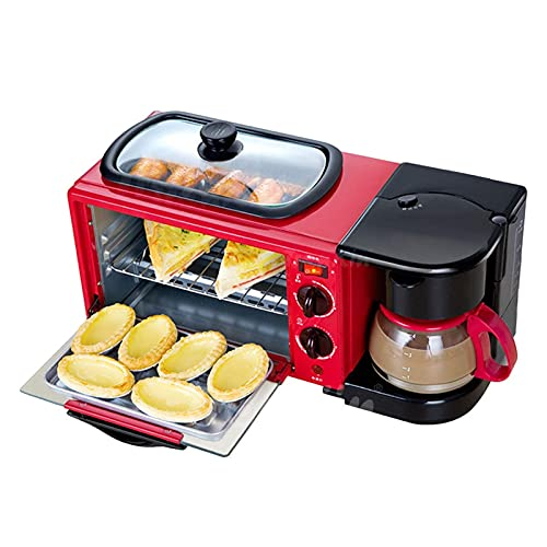 Mini Horno 9L, máquina de Desayuno multifunción Horno eléctrico Tres en uno Horno Tostador de sándwiches para el hogar Tostadora de Tortilla de café Freidora de Aire (Color: Negro, Tamaño: Juego de