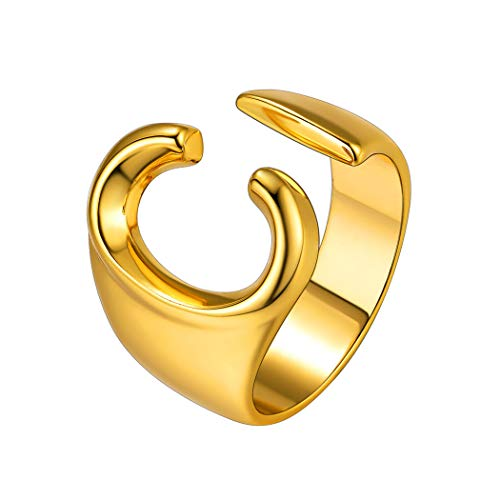 Suplight Gold C Initial Rings for Women, Women's Statement Rings, Unique Jewelry Ring, Ajustable Alphabet Capital Letter Name Ring, Open Thumb Ring
